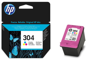 Genuine HP 304, Standard Capacity Vivera Tri-Colour Ink Cartridge, N9K05, N9K05AE