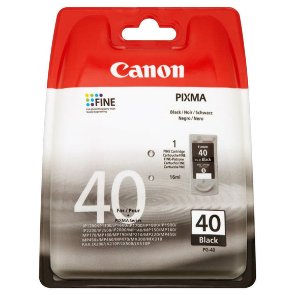 Genuine Canon PG40, Black Ink Jet Printer Cartridge PG-40