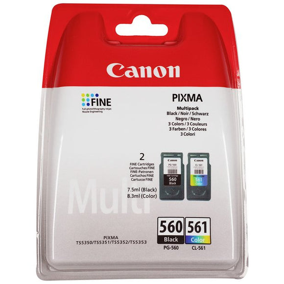 Canon PG-560 & CL-561, Black And Colour Ink jet Printer Cartridges, PG560 Plus CL561