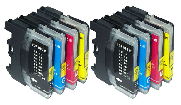 8 Compatible Ink Cartridges, Replaces For Brother LC980 LC1100 LC980VALBP LC1100VALBP NEW