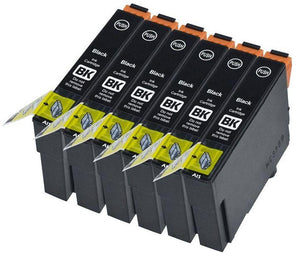 6 Compatible Black Ink Jet Printer Cartridges, Replaces For Epson T1281, T128140 NOM-OEM