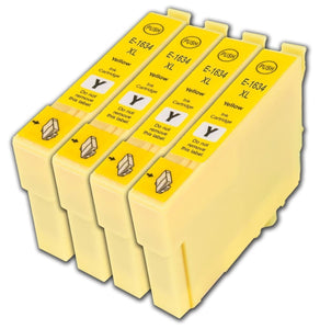 4 Compatible 16 XL, Yellow Ink Cartridges, Replaces For Epson 16XL T1634,T163440, NON-OEM