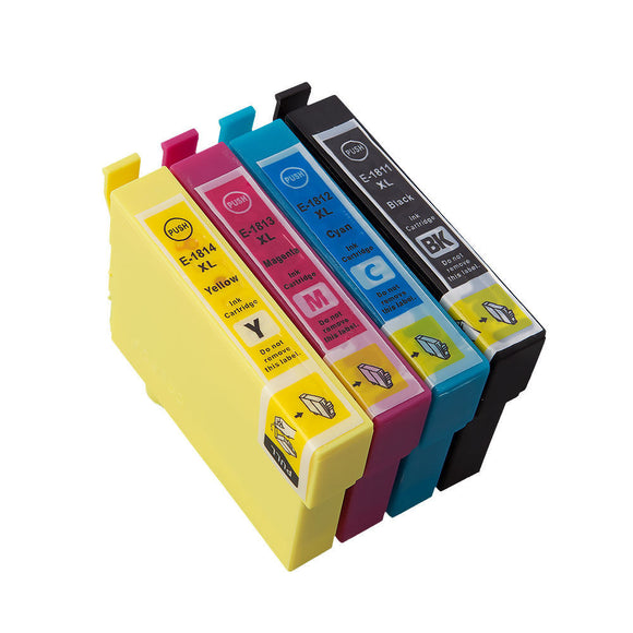 4 Compatible Multipack Ink Cartridges, Replaces For Epson 18XL, T1816, NON-OEM