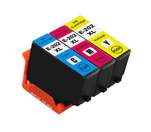 3 Compatible Ink Cartridges, Replaces For Epson 202XL, T02H2, T02H3, T02H4, NON-OEM