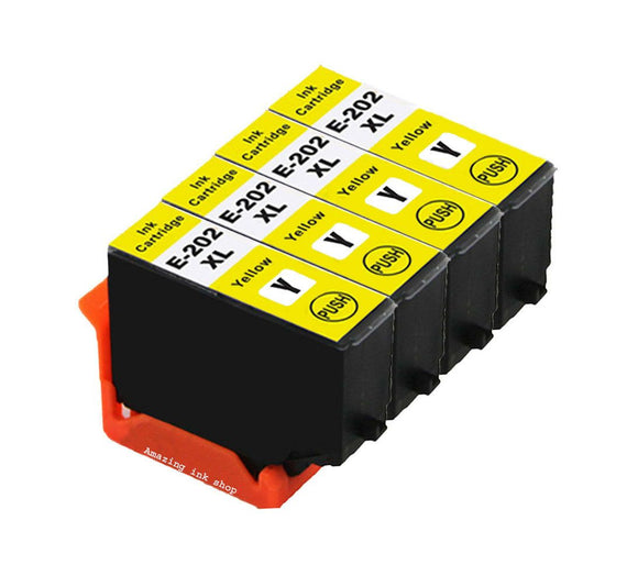 4 Compatible Yellow Ink Cartridges, Replaces For Epson 202XL T02F4, NON-OEM
