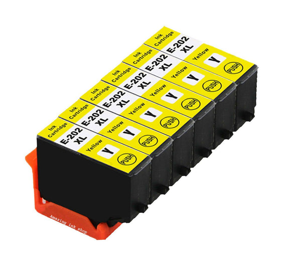 6 Compatible Yellow Ink Cartridges, Replaces For Epson 202XL, T02H4, NON-OEM