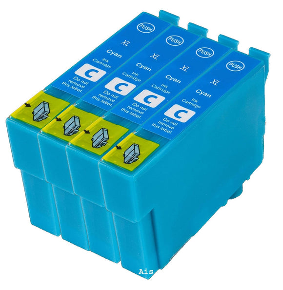 4 Compatible Cyan Ink jet Cartridges, Replaces For Epson 27XL, T2712, T271240, NON-OEM