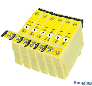 6 Compatible Yellow Ink jet Cartridges, Replaces For Epson 27XL, T2714, T271440, NON-OEM