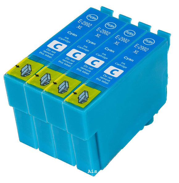 4 Compatible 29 XL, Cyan Ink Cartridges, Replaces Replaces For Epson 29XL, T2992, NON-OEM