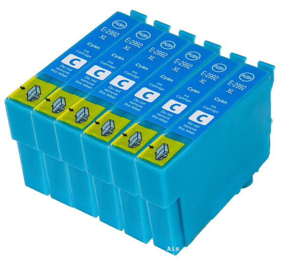 6 Compatible 29 XL, Cyan Ink Cartridges, Replaces Replaces For Epson 29XL, T2992, NON-OEM