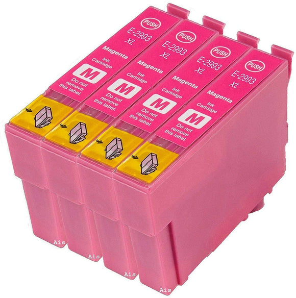 4 Compatible Magenta Ink Cartridges, Replaces Replaces For Epson 29XL, T2993, NON-OEM
