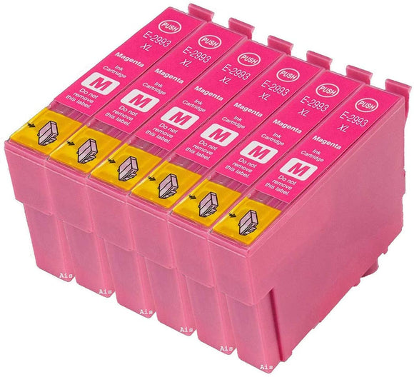 6 Compatible Magenta Ink Cartridges, Replaces For Epson 29XL, T2993, T299340 NON-OEM