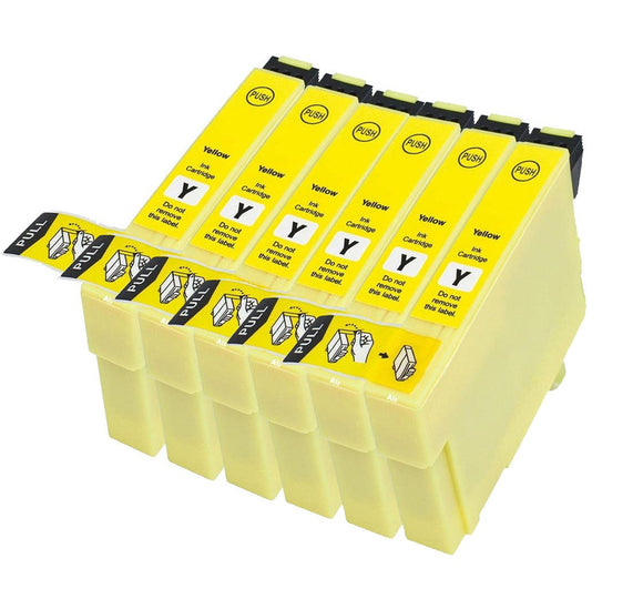 6 Compatible 29 XL, Yellow Ink Cartridges, Replaces Replaces For Epson 29XL, T2994, NON-OEM