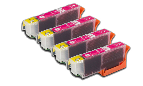4 Compatible High Capacity Magenta Ink Cartridges, Replaces For Epson 33XL, T3363, NON-OEM