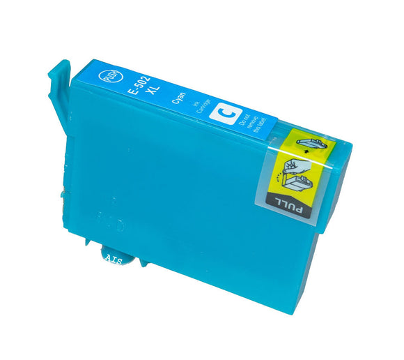 1 Compatible 502XL High Capacity Cyan Ink Cartridge, For Epson 502XL, T02W2, T02W240