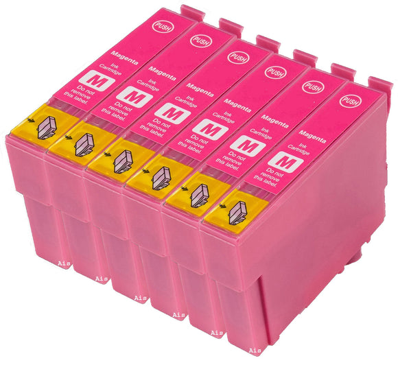 6 Compatible Magenta Ink Cartridges, Replaces For Epson T0713, TO713, T0893, NON-OEM