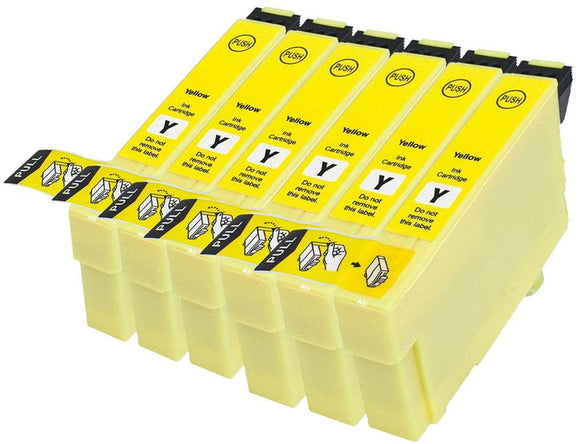 6 Compatible 714, Yellow Ink jet Printer Cartridges, Replaces For Epson T0714, TO714, NON-OEM