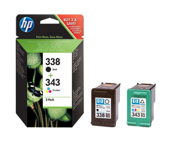 Genuine HP 338, 343 Multipack Black & Tri-Colour Ink Cartridges, SD449, SD449EE