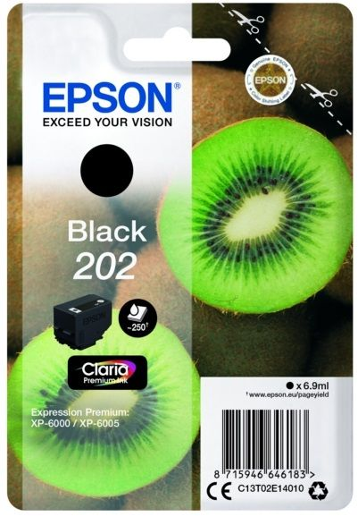 Genuine Epson 202, Kiwi Black Ink Cartridge, Epson 202, T02E1, C13T02E14010