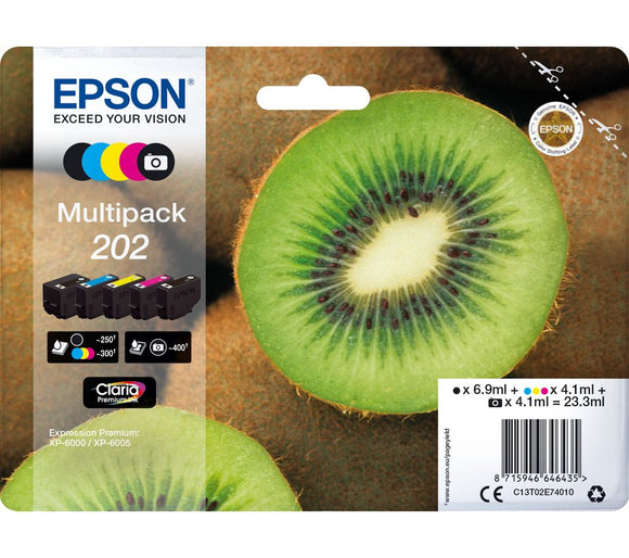 Genuine Epson 202, Kiwi Multipack Ink Cartridges, T02E7, C13T02E74010