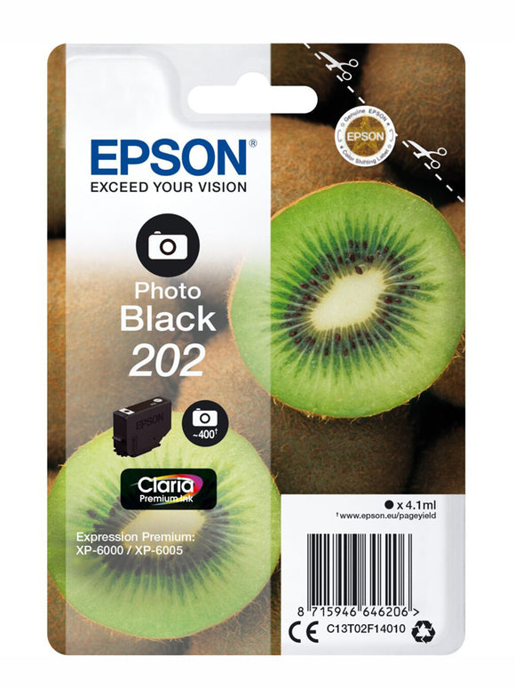 Genuine Epson 202, Kiwi Photo Black Ink Cartridge, T02F1, C13T02F14010