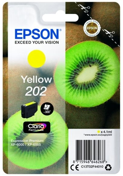 Genuine Epson 202, Kiwi Yellow Ink Cartridge, T02F4, C13T02F44010