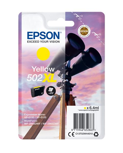 Genuine Epson 502XL, Binoculars Yellow Ink jet Printer Cartridge, T02W4, T02W440
