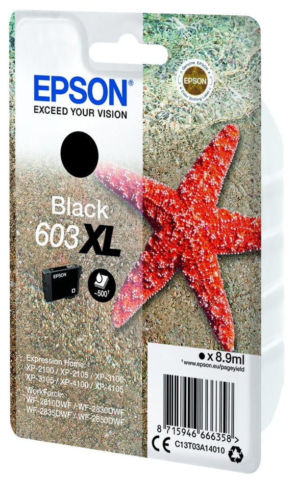 Genuine Epson 603XL, Starfish Black Ink Jet Printer Cartridge, T03A1, T03A140