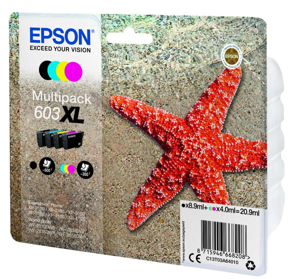 Genuine Epson 603XL, High Capacity Starfish Multipack Ink Cartridge, T03A6, T03A640