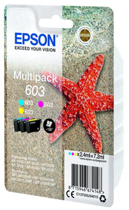 Genuine Epson 603, Starfish Triplepack Ink Jet Printer Cartridges, T03U5, T03U540