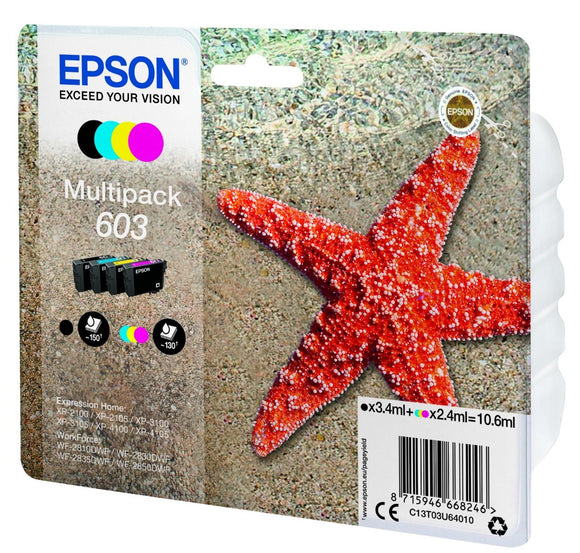 Genuine Epson 603, Starfish Multipack Ink Jet Printer Cartridge, T03U6, T03U640