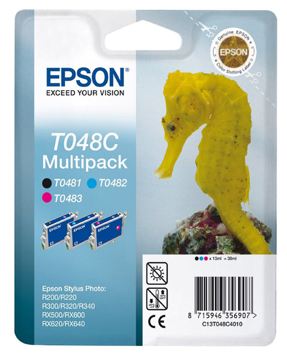 Genuine Epson TO48C, Seahorse Tripple Pack Ink Cartridges, T0481, T0482, T0483, T48C