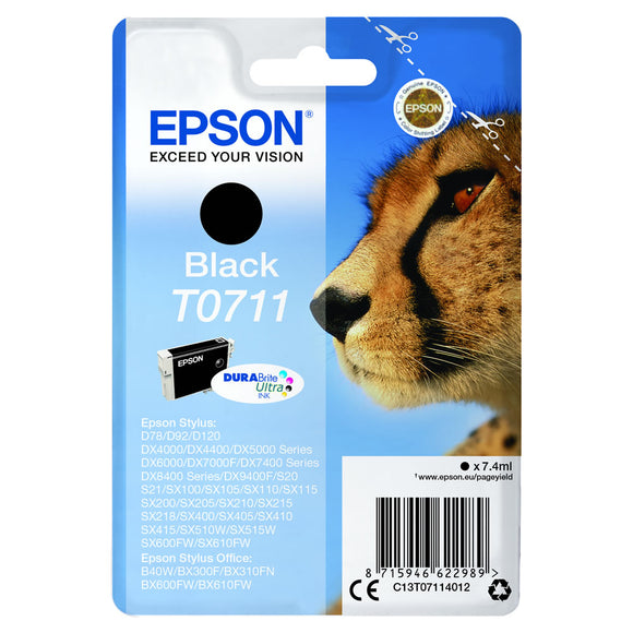 Genuine Epson T0711, Cheetah DuraBrite Ultra Black Ink jet Printer Cartridge, TO711