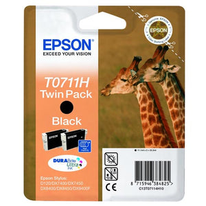 Genuine Epson T0711H DuraBrite Ultra Black Ink jet Printer Cartridge, C13T07114H10