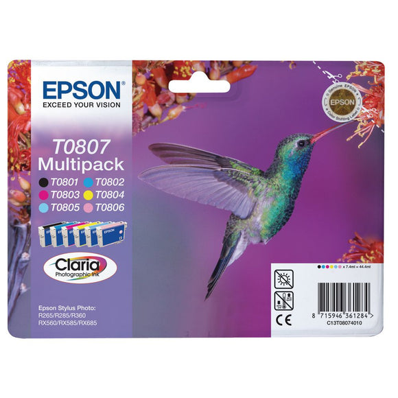 Genuine Epson Claria T0807 Hummingbird Multipack Ink Cartridges TO807 C13T08074010