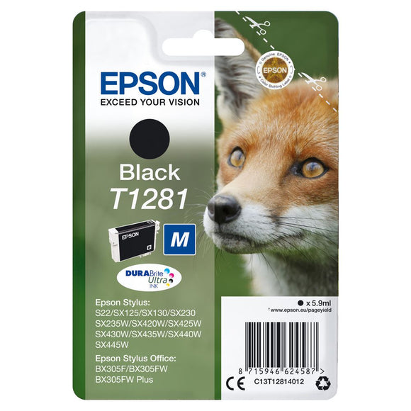 Genuine Epson T1281, DuraBrite Ultra Fox Black Ink jet Print Cartridge, T12814010