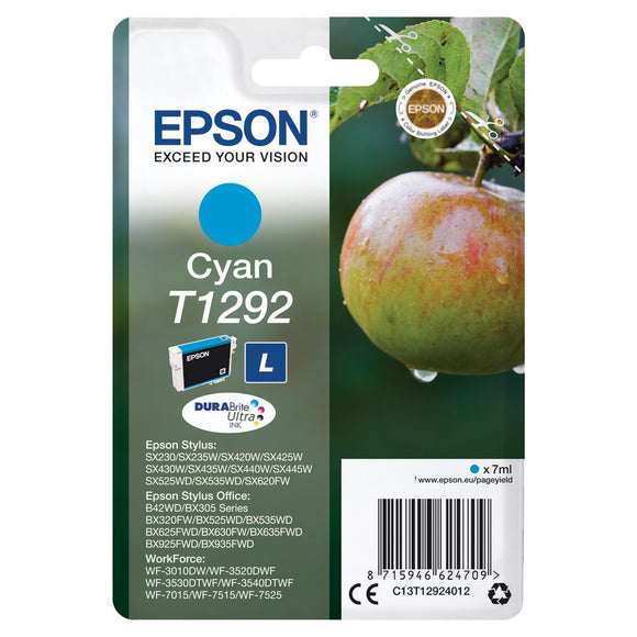 Genuine Epson T1292, Durabrite Apple Cyan Ink jet Printer Cartridge, C13T12924012