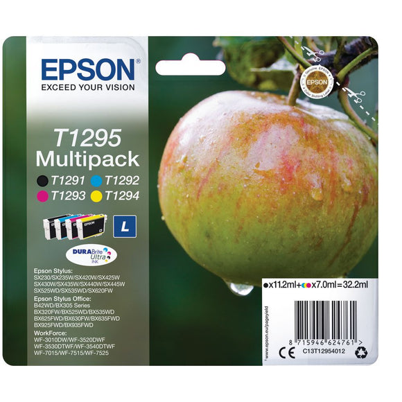 Genuine Epson T1295 Apple Durabrite Multipack Ink Cartridges, T129540 C13T12954010