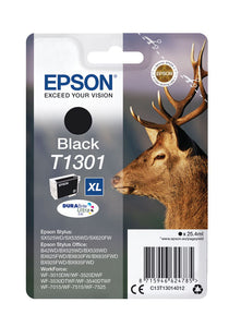 Genuine Epson T1301, DuraBrite Ultra Stag Black Ink Jet Printer Cartridge, T130140 OEM