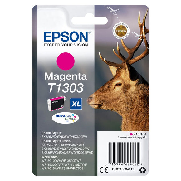 Genuine Epson T1303, XL DuraBrite Ultra Stag Magenta Ink Cartridge, C13T13034012