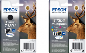 Genuine Epson DuraBrite Ultra Stag Multipack Ink Jet Printer Cartridges, T1301, T1306