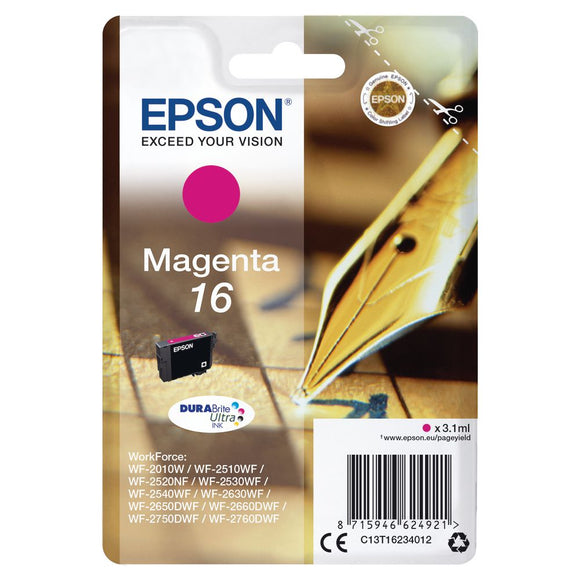 Genuine Epson 16, Pen Durabrite Ultra Magenta Ink jet Printer Cartridge, T1623, T162340