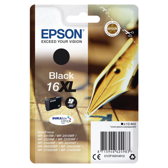 Genuine Epson 16XL, Pen Durabrite Ultra Black Ink jet Print Cartridge, T1631, T163140