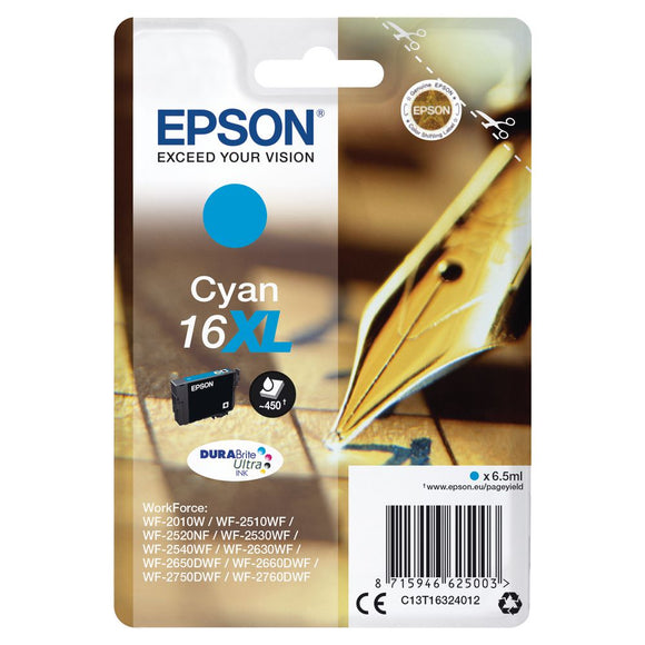 Genuine Epson 16XL, Pen Durabrite Ultra Cyan Ink jet Printer Cartridge, T1632, T163240