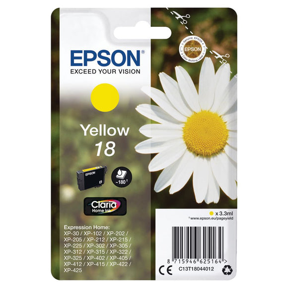 Genuine Epson 18, Daisy Claria Home Yellow Ink jet Printer Cartridge, T1804, T180440