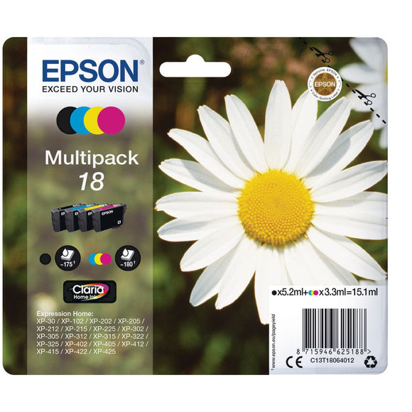 Genuine Epson 18, Daisy Claria Multipack Ink jet Printer Cartridges, T1806, T180640