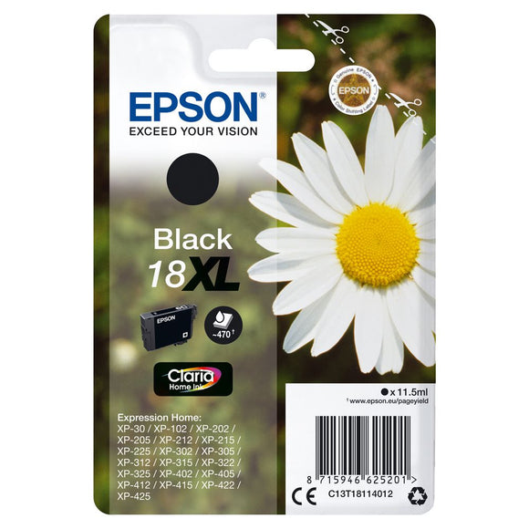 Genuine Epson 18XL, Daisy Claria Home Balck Ink jet Print Cartridge, T1811, T181140