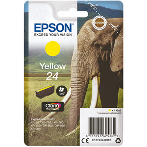 Genuine Epson 24, Elephant Claria Photo Yellow Ink Cartridge, T2424, C13T24244012