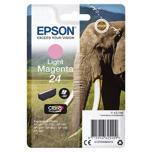 Genuine Epson 24, Elephant Light Magenta HD Ink Cartridge, T2426, C13T24264012
