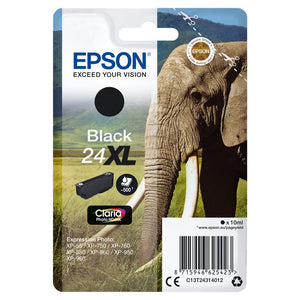 Epson 24XL, Elephant Claria Photo HD Black Ink Cartridge, T2431, C13T24314010